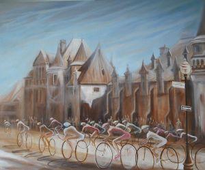 """""""Manège"""", la toile qui sera remise ce dimanche 29 juillet au vainqueur du Tour de Québec."""