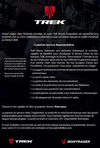 gallery Trek France recrute un employé service client