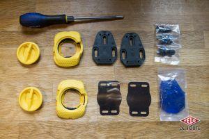 le kit complet de cales walkable (le tournevis en moins), avec les options pour toutes les chaussures du marché