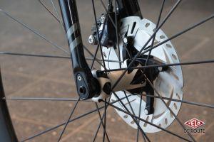 Fourche carbone à axe traversant, freins à disques hydrauliques et jolies roues DT PR1600