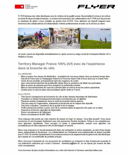 "gallery Flyer cherche son ""Territory manager"" pour la France"