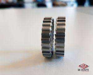 Le mécanisme de la roue-libre DT Swiss, ces deux engrenages remplacent les traditionnels cliquets.