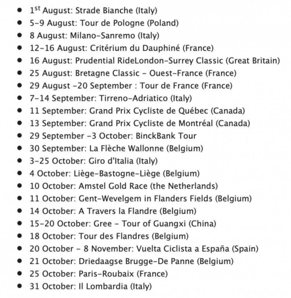 gallery Le nouveau calendrier 2020 de l'UCI