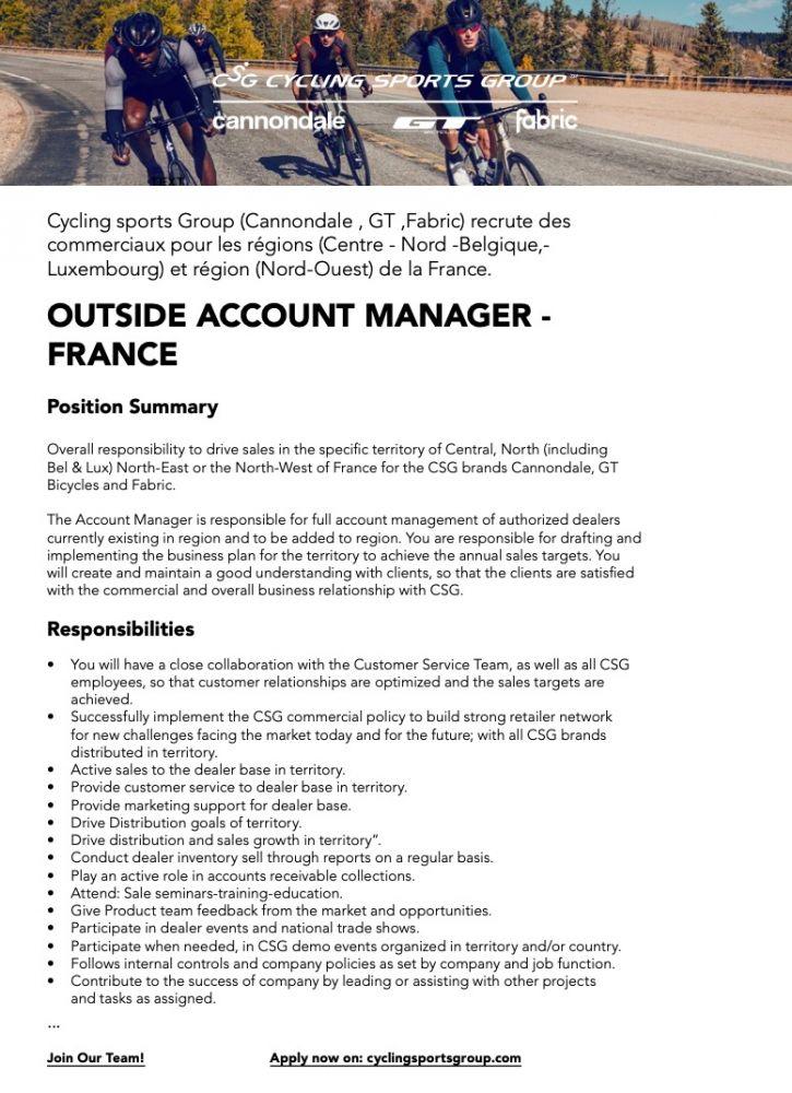 gallery Cycling Sports Group recherche des commerciaux (H / F)