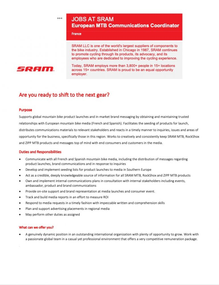 gallery SRAM recrute