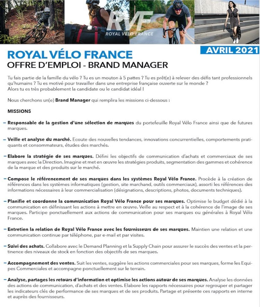 gallery Royal Vélo France recrute